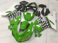 2005 2006 Kawasaki ZX-6R green and white fairing kit