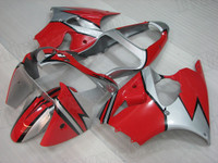 2001 2002 Kawasaki ZX-6R red and silver fairing kit.