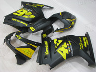 2008 to 2012 Kawasaki Ninja 250R matte black fairing with yellow graphic.
