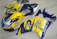 Suzuki GSXR1000 2000 2001 2002 yellow Corona fairing kits, this Suzuki GSXR1000 2000 2001 2002 plastics was applied in yellow Corona graphics, this 2000 2001 2002 GSXR1000 fairing set comes with the both color and decals shown as the photo.If you want to do custom fairings for GSXR1000 2000 2001 2002,our talented airbrusher will custom it for you.
