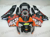 Honda CBR600RR 2003 2004 rossi repsol replica fairing kits, this Honda CBR600RR 2003 2004 plastics was applied in rossi repsol replica graphics, this 2003 2004 CBR600RR fairing set comes with the both color and decals shown as the photo.If you want to do custom fairings for CBR600RR 2003 2004,our talented airbrusher will custom it for you