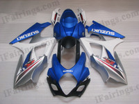 Suzuki GSXR1000 2007 2008 white and silver fairing kits, this Suzuki GSXR1000 2007 2008 plastics was applied in white and silver graphics, this 2007 2008 GSXR1000 fairing set comes with the both color and decals shown as the photo.If you want to do custom fairings for GSXR1000 2007 2008,our talented airbrusher will custom it for you.