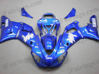 Yamaha YZF-R1 1998 1999 candy blue fairing kits, this Yamaha YZF-R1 1998 1999 plastics was applied in candy bluegraphics, this 1998 1999 YZF-R1 fairing set comes with the both color and decals shown as the photo.If you want to do custom fairings for YZF-R1 1998 1999,our talented airbrusher will custom it for you.