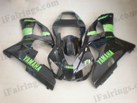 Yamaha YZF-R1 1998 1999 glossy black fairing kits, this Yamaha YZF-R1 1998 1999 plastics was applied in glossy blackgraphics, this 1998 1999 YZF-R1 fairing set comes with the both color and decals shown as the photo.If you want to do custom fairings for YZF-R1 1998 1999,our talented airbrusher will custom it for you.
