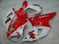 Yamaha YZF-R1 1998 1999 red and white fairing kits, this Yamaha YZF-R1 1998 1999 plastics was applied in red and whitegraphics, this 1998 1999 YZF-R1 fairing set comes with the both color and decals shown as the photo.If you want to do custom fairings for YZF-R1 1998 1999,our talented airbrusher will custom it for you