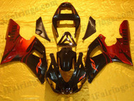 Yamaha YZF-R1 2000 2001 red flame fairing kits, this Yamaha YZF-R1 2000 2001 plastics was applied in red flamegraphics, this 2000 2001 YZF-R1 fairing set comes with the both color and decals shown as the photo.If you want to do custom fairings for YZF-R1 2000 2001,our talented airbrusher will custom it for you.