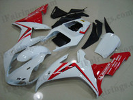 iFairings.com offer oem comparable quality fairings for Yamaha 2002 2003 YZF-R1 white and red. These oem quality fairings and body kits are manufactured by original kind of material ABS with injection mold technology, which ensure our fairings and body kits being the same durable as the original fairings as well as 100% fitment. Double UV base protection painting plus clear coat covering on the decal and make our fairings oem factory look