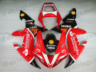 Yamaha YZF-R1 2002 2003 santander replica fairing kits, this Yamaha YZF-R1 2002 2003 plastics was applied in santander replicagraphics, this 2002 2003 YZF-R1 fairing set comes with the both color and decals shown as the photo.If you want to do custom fairings for YZF-R1 2002 2003,our talented airbrusher will custom it for you.