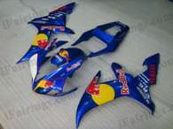 Yamaha YZF-R1 2002 2003 red bull fairing kits, this Yamaha YZF-R1 2002 2003 plastics was applied in red bullgraphics, this 2002 2003 YZF-R1 fairing set comes with the both color and decals shown as the photo.If you want to do custom fairings for YZF-R1 2002 2003,our talented airbrusher will custom it for you.