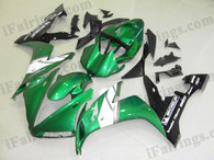Yamaha YZF-R1 2004 2005 2006 green and black fairing kits, this Yamaha YZF-R1 2004 2005 2006 plastics was applied in green and blackgraphics, this 2004 2005 2006 YZF-R1 fairing set comes with the both color and decals shown as the photo.If you want to do custom fairings for YZF-R1 2004 2005 2006,our talented airbrusher will custom it for you.