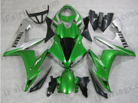 Yamaha YZF-R1 2004 2005 2006 green and silver fairing kits, this Yamaha YZF-R1 2004 2005 2006 plastics was applied in green and silvergraphics, this 2004 2005 2006 YZF-R1 fairing set comes with the both color and decals shown as the photo.If you want to do custom fairings for YZF-R1 2004 2005 2006,our talented airbrusher will custom it for you.