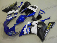 Yamaha YZF-R6 1998 to 2002 blue and black fairing kits, this Yamaha YZF-R6 1998 to 2002 plastics was applied in blue and blackgraphics, this 1998 to 2002 YZF-R6 fairing set comes with the both color and decals shown as the photo.If you want to do custom fairings for YZF-R6 1998 to 2002,our talented airbrusher will custom it for you.