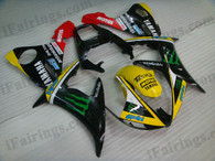 Yamaha YZF-R6 2003 2004 2005 monster replica fairing kits, this Yamaha YZF-R6 2003 2004 2005 plastics was applied in monster replicagraphics, this 2003 2004 2005 YZF-R6 fairing set comes with the both color and decals shown as the photo.If you want to do custom fairings for YZF-R6 2003 2004 2005,our talented airbrusher will custom it for you.