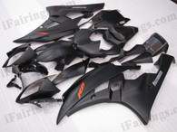 Yamaha YZF-R6 2006 2007 matt/flat black fairing kits, this Yamaha YZF-R6 2006 2007 plastics was applied in matt/flat blackgraphics, this 2006 2007 YZF-R6 fairing set comes with the both color and decals shown as the photo.If you want to do custom fairings for YZF-R6 2006 2007,our talented airbrusher will custom it for you.