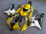 Yamaha YZF-R6 2006 2007 50th anniversary fairing kits, this Yamaha YZF-R6 2006 2007 plastics was applied in 50th anniversarygraphics, this 2006 2007 YZF-R6 fairing set comes with the both color and decals shown as the photo.If you want to do custom fairings for YZF-R6 2006 2007,our talented airbrusher will custom it for you.