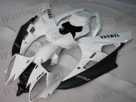 Yamaha YZF-R6 2006 2007 white and black fairing kits, this Yamaha YZF-R6 2006 2007 plastics was applied in white and blackgraphics, this 2006 2007 YZF-R6 fairing set comes with the both color and decals shown as the photo.If you want to do custom fairings for YZF-R6 2006 2007,our talented airbrusher will custom it for you.