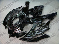 Yamaha YZF-R6 2006 2007 black and white flame fairing kits, this Yamaha YZF-R6 2006 2007 plastics was applied in black and white flamegraphics, this 2006 2007 YZF-R6 fairing set comes with the both color and decals shown as the photo.If you want to do custom fairings for YZF-R6 2006 2007,our talented airbrusher will custom it for you.