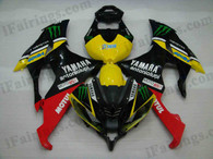 Yamaha YZF-R6 2008 to 2012 Monster replica fairing kits, this Yamaha YZF-R6 2008 to 2012 plastics was applied in Monster replicagraphics, this 2008 to 2012 YZF-R6 fairing set comes with the both color and decals shown as the photo.If you want to do custom fairings for YZF-R6 2008 to 2012,our talented airbrusher will custom it for you.