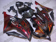 Yamaha YZF-R6 2008 to 2012 red flame fairing kits, this Yamaha YZF-R6 2008 to 2012 plastics was applied in red flamegraphics, this 2008 to 2012 YZF-R6 fairing set comes with the both color and decals shown as the photo.If you want to do custom fairings for YZF-R6 2008 to 2012,our talented airbrusher will custom it for you.