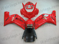 Kawasaki ZX6R 636 2003 2004 oem matched red fairing kits, this Kawasaki ZX6R 636 2003 2004 plastics was applied in oem matched redgraphics, this 2003 2004 ZX6R 636 fairing set comes with the both color and decals shown as the photo.If you want to do custom fairings for ZX6R 636 2003 2004,our talented airbrusher will custom it for you.
