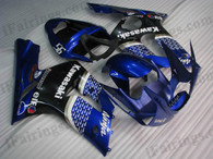 Kawasaki ZX6R 636 2003 2004 blue and black fairing kits, this Kawasaki ZX6R 636 2003 2004 plastics was applied in blue and blackgraphics, this 2003 2004 ZX6R 636 fairing set comes with the both color and decals shown as the photo.If you want to do custom fairings for ZX6R 636 2003 2004,our talented airbrusher will custom it for you.