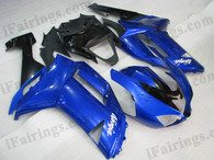 Kawasaki ZX6R 636 2007 2008 blue and black fairing kits, this Kawasaki ZX6R 636 2007 2008 plastics was applied in blue and blackgraphics, this 2007 2008 ZX6R 636 fairing set comes with the both color and decals shown as the photo.If you want to do custom fairings for ZX6R 636 2007 2008,our talented airbrusher will custom it for you.