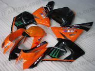 Kawasaki ZX10R 2004 2005 orange monster fairing kits, this Kawasaki ZX10R 2004 2005 plastics was applied in orange monstergraphics, this 2004 2005 ZX10R fairing set comes with the both color and decals shown as the photo.If you want to do custom fairings for ZX10R 2004 2005,our talented airbrusher will custom it for you.