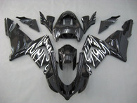 Kawasaki ZX10R 2004 2005 black and white flame fairing kits, this Kawasaki ZX10R 2004 2005 plastics was applied in black and white flamegraphics, this 2004 2005 ZX10R fairing set comes with the both color and decals shown as the photo.If you want to do custom fairings for ZX10R 2004 2005,our talented airbrusher will custom it for you.