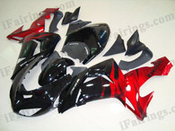 Kawasaki ZX10R 2006 2007 black and red fairing kits, this Kawasaki ZX10R 2006 2007 plastics was applied in black and redgraphics, this 2006 2007 ZX10R fairing set comes with the both color and decals shown as the photo.If you want to do custom fairings for ZX10R 2006 2007,our talented airbrusher will custom it for you.
