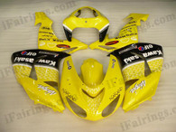 Kawasaki ZX10R 2006 2007 lemon yellow NAKANO fairing kits, this Kawasaki ZX10R 2006 2007 plastics was applied in lemon yellow NAKANOgraphics, this 2006 2007 ZX10R fairing set comes with the both color and decals shown as the photo.If you want to do custom fairings for ZX10R 2006 2007,our talented airbrusher will custom it for you
