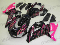 Kawasaki ZX14R 2006 2007 2008 2009 black and pink flame fairing kits, this Kawasaki ZX14R 2006 2007 2008 2009 plastics was applied in black and pink flame graphics, this 2006 2007 2008 2009 ZX14R fairing set comes with the both color and decals shown as the photo.If you want to do custom fairings for ZX14R 2006 2007 2008 2009,our talented airbrusher will custom it for you.