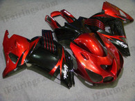 Kawasaki ZX14R 2006 2007 2008 2009 red and black fairing kits, this Kawasaki ZX14R 2006 2007 2008 2009 plastics was applied in red and blackgraphics, this 2006 2007 2008 2009 ZX14R fairing set comes with the both color and decals shown as the photo.If you want to do custom fairings for ZX14R 2006 2007 2008 2009,our talented airbrusher will custom it for you
