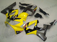 Honda CBR900RR 929 2000 2001 yellow and gunmetal fairing kits, this Honda CBR900RR 929 2000 2001 plastics was applied in yellow and gunmetal graphics, this 2000 2001 CBR900RR 929 fairing set comes with the both color and decals shown as the photo.If you want to do custom fairings for CBR900RR 929 2000 2001,our talented airbrusher will custom it for you.
