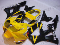 Honda CBR900RR 929 2000 2001 yellow and black fairing kits, this Honda CBR900RR 929 2000 2001 plastics was applied in yellow and black graphics, this 2000 2001 CBR900RR 929 fairing set comes with the both color and decals shown as the photo.If you want to do custom fairings for CBR900RR 929 2000 2001,our talented airbrusher will custom it for you.