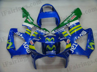 Honda CBR900RR 929 2000 2001 Movistar fairing kits, this Honda CBR900RR 929 2000 2001 plastics was applied in Movistar graphics, this 2000 2001 CBR900RR 929 fairing set comes with the both color and decals shown as the photo.If you want to do custom fairings for CBR900RR 929 2000 2001,our talented airbrusher will custom it for you.
