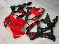 Honda CBR900RR 929 2000 2001 red and black fairing kits, this Honda CBR900RR 929 2000 2001 plastics was applied in red and black graphics, this 2000 2001 CBR900RR 929 fairing set comes with the both color and decals shown as the photo.If you want to do custom fairings for CBR900RR 929 2000 2001,our talented airbrusher will custom it for you.
