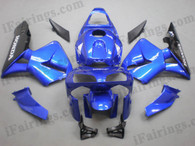 Honda CBR600RR 2003 2004 blue and black fairing kits, this Honda CBR600RR 2003 2004 plastics was applied in blue and black graphics, this 2003 2004 CBR600RR fairing set comes with the both color and decals shown as the photo.If you want to do custom fairings for CBR600RR 2003 2004,our talented airbrusher will custom it for you