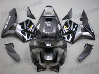 Honda CBR600RR 2003 2004 gunmetal and black fairing kits, this Honda CBR600RR 2003 2004 plastics was applied in gunmetal and black graphics, this 2003 2004 CBR600RR fairing set comes with the both color and decals shown as the photo.If you want to do custom fairings for CBR600RR 2003 2004,our talented airbrusher will custom it for you