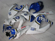 Suzuki GSXR600/750 2006 2007 Lucky Strike fairing kits, this Suzuki GSXR600/750 2006 2007 plastics was applied in Lucky Strike graphics, this 2006 2007 GSXR600/750 fairing set comes with the both color and decals shown as the photo.If you want to do custom fairings for GSXR600/750 2006 2007,our talented airbrusher will custom it for you.