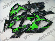 Suzuki GSXR600/750 2006 2007 green flame fairing kits, this Suzuki GSXR600/750 2006 2007 plastics was applied in green flame graphics, this 2006 2007 GSXR600/750 fairing set comes with the both color and decals shown as the photo.If you want to do custom fairings for GSXR600/750 2006 2007,our talented airbrusher will custom it for you.