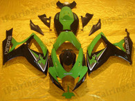 Suzuki GSXR600/750 2006 2007 green and black fairing kits, this Suzuki GSXR600/750 2006 2007 plastics was applied in green and black graphics, this 2006 2007 GSXR600/750 fairing set comes with the both color and decals shown as the photo.If you want to do custom fairings for GSXR600/750 2006 2007,our talented airbrusher will custom it for you.