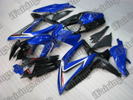 Suzuki GSXR600/750 2008 2009 blue and black fairing kits, this Suzuki GSXR600/750 2008 2009 plastics was applied in blue and black graphics, this 2008 2009 GSXR600/750 fairing set comes with the both color and decals shown as the photo.If you want to do custom fairings for GSXR600/750 2008 2009,our talented airbrusher will custom it for you