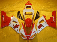 Yamaha YZF-R1 2000 2001 red and white fairing kits, this Yamaha YZF-R1 2000 2001 plastics was applied in red and whitegraphics, this 2000 2001 YZF-R1 fairing set comes with the both color and decals shown as the photo.If you want to do custom fairings for YZF-R1 2000 2001,our talented airbrusher will custom it for you.