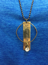 """Hammered brass and antique medal ring with nickel free Pemberley charm on a 30"""" antique brass chain.  Hand crafted in the USA.  I Love My Lineman Necklace."""