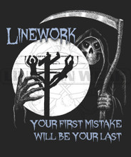 In the back of every lineman's head is the realization that their first mistake will be their last.  This long sleeve shirt proudly depicts that fact as the angel of death sits waiting with hand out as to grab with lineman working with a full moon backdrop.  Unique Tshirt designs for the power lineman.  Note: Watermark will NOT appear on the shirt itself.