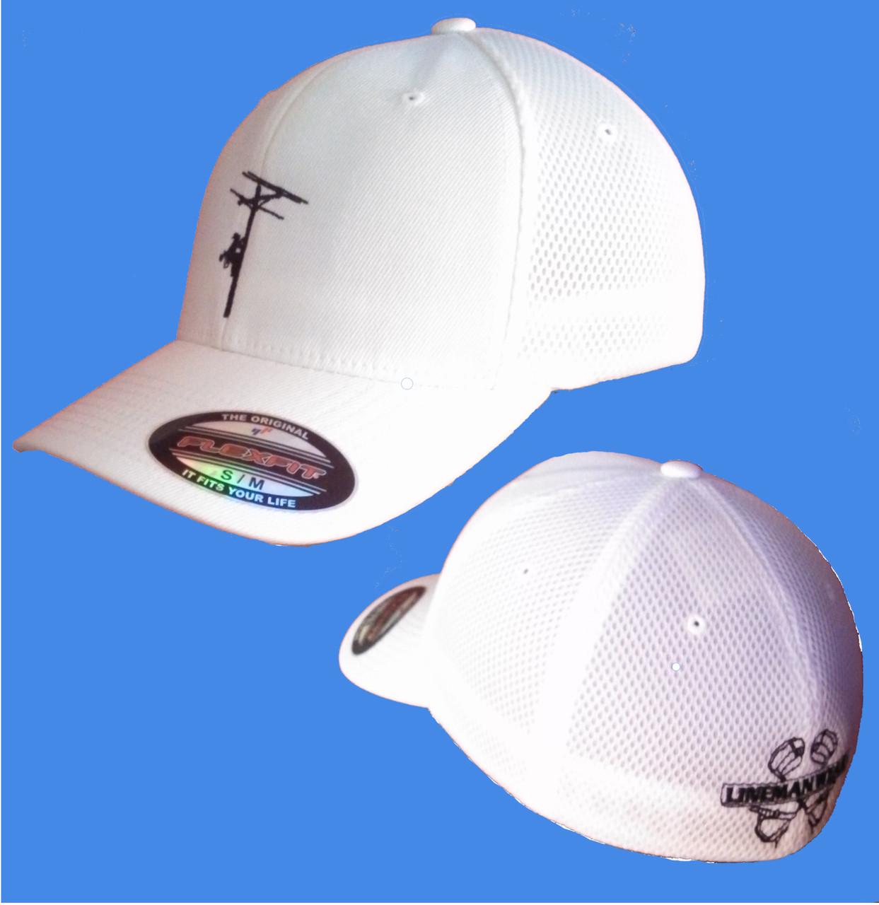 291d7b428ae Flexfit Ultra fiber and Mesh Cap (White) - Lineman Wear