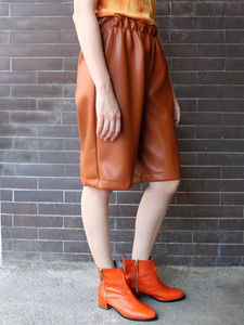 Synthetic leather shorts