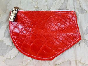 orange croc purse