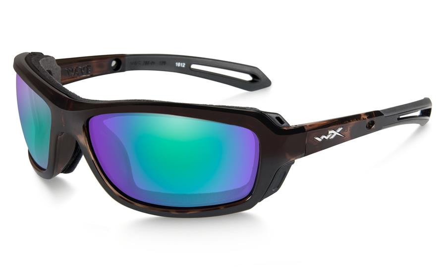 0dc8aa6e96 Wiley X Wave in Gloss Demi with Polarized Emerald Mirror Lens. Image 1.  Loading zoom