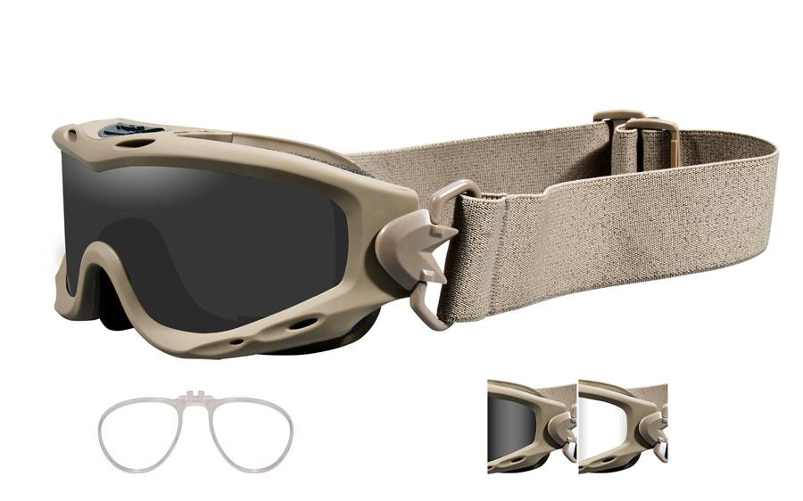 5810c727ed Wiley X Spear Tactical Rx Safety Goggles in Tan with Smoke   Clear Lens.  Loading zoom